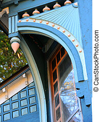 Blue Victorian Trim on Home - Beautiful wooden trim on ...