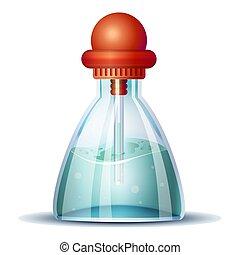 Blue vinegar icon, cartoon style