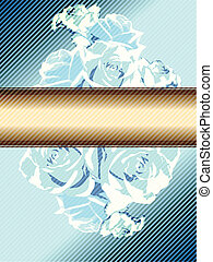 Blue vintage banner with roses