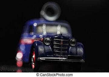 Blue vintage car closeup