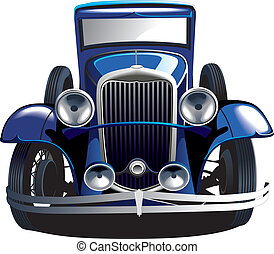 Detailed vectorial image of blue vintage car, isolated on white backgrounds. Contains gradients and blends.