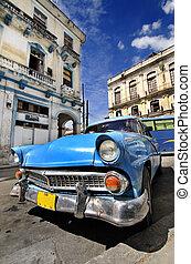 Blue vintage car in havana street
