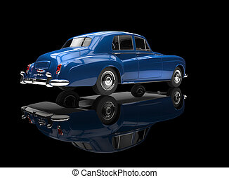 Blue Vintage Car On Black