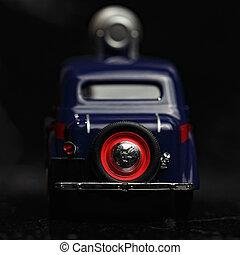 Blue vintage car rear