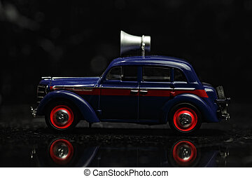 Blue vintage car sideview