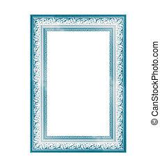 Blue vintage frame isolated on white background