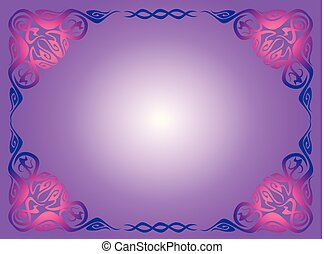 blue vintage frame on a lilac background