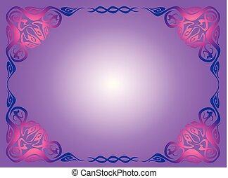 blue vintage frame on a lilac background