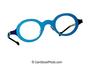 Blue vintage glasses isolated
