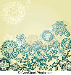 Blue vintage hand drawn background