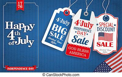 Blue Vintage Happy 4 July Frame 3 Price Stickers