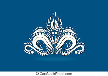 Blue vintage lotus flower logo