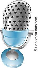 blue vintage microphone