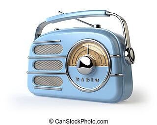 Blue vintage retro radio receiver isolated on white.