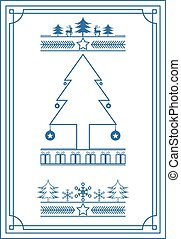 Blue vintage style Christmas banner