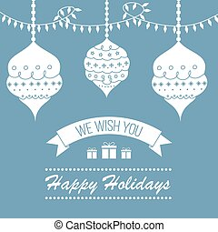 Blue vintage style holidays card