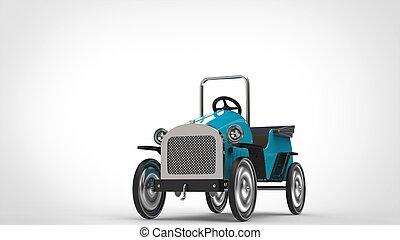 Blue vintage toy car - restored