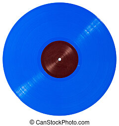 Blue vinyl record isolated on white background
