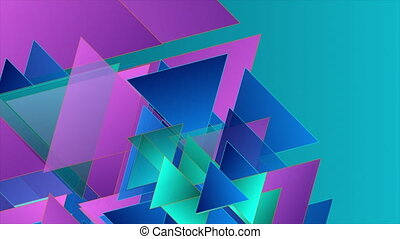 Blue violet abstract tech motion background with glossy triangles. Seamless looping. Video animation Ultra HD 4K 3840x2160