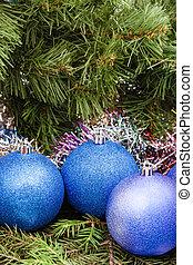 blue, violet Christmas balls, tinsel, Xmas tree 4