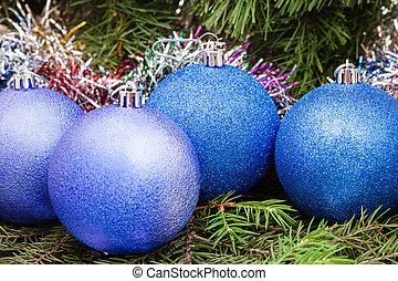blue, violet Christmas balls, tinsel, Xmas tree 6