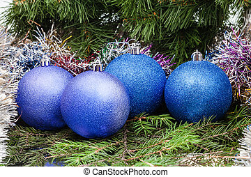 blue, violet Christmas balls, tinsel, Xmas tree 7