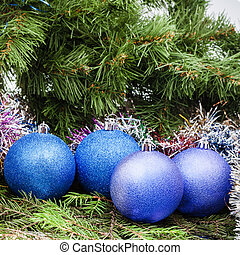 blue, violet Christmas balls, tinsel, Xmas tree 8