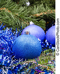 blue violet Christmas baubles, tinsel, Xmas tree 2