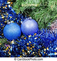 blue violet Christmas baubles, tinsel, Xmas tree 6