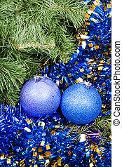 blue violet Christmas baubles, tinsel, Xmas tree 7