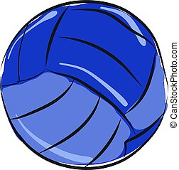 Blue volleyball, illustration, vector on white background.