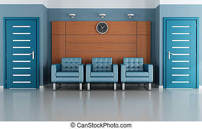 blue waiting room - modern waiting room with thre armchair...