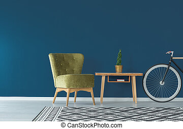 Blue wall and coffee table