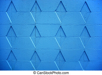 Blue Wall - Blue wall with diamond patterns in the bricks