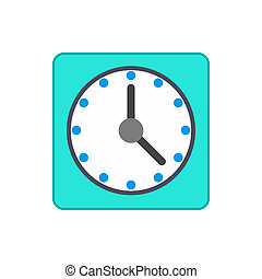 Blue wall clock icon in flat style - icon in isometric 3d ...