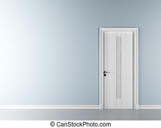 blue wall with door