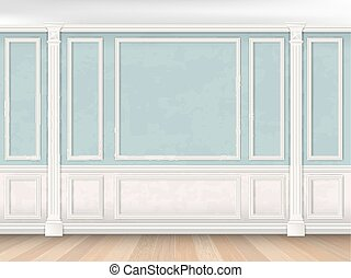 Blue wall with pilasters and white panel
