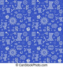 Blue wallpaper for winter holidays with abstract pattern with reindeers, snowy trees and decorative sun silhouettes