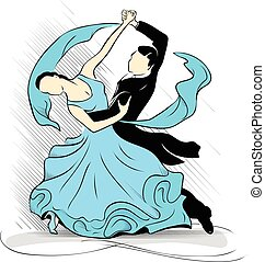 Blue waltz - Dancers carry out dance waltz