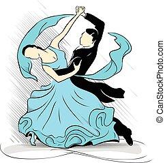 Blue waltz - Dancers carry out dance waltz