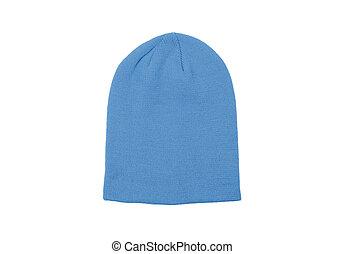 blue warm woolen knitted winter hat