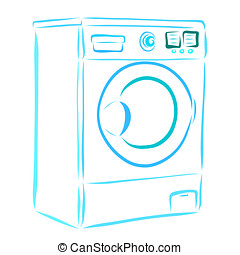 Blue washing machine, household appliances