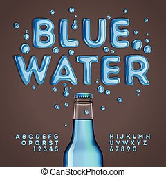 Blue water alphabet and numbers