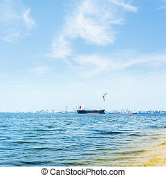 Blue water and sky with white clouds. A transport ship on the horizon. A seagull flies over the river.