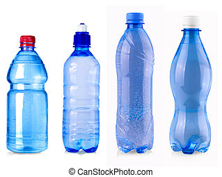 blue water bottle isolated on white background.