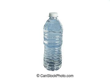 blue water bottle on white background