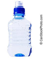 blue water bottle on white