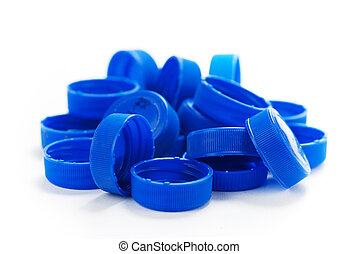 blue water bottle plastic caps over a white background