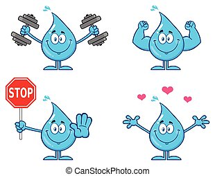 Blue Water Drop Cartoon Mascot Character 2. Vector Collection