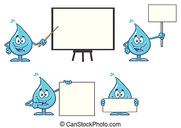 Blue Water Drop Cartoon Mascot Character 3. Vector Collection